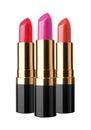 Set of lipstick isolated on white background Stock Photos