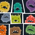 Set of little angry viruses and monsters Royalty Free Stock Photo