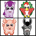 Set of Little Animals - Farm Royalty Free Stock Images