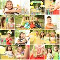 Set with little children selling tasty lemonade Royalty Free Stock Photo