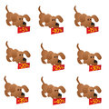 Set of little funny Dogs with discount boards Royalty Free Stock Image