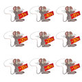 Set of little funny Mouses with discount boards Stock Photography