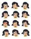 Set of Little girl face expression,vector illustrations isolated