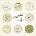 Set logan organic food olives vector logo for products and a sign to certify the quality of these products and other foods logos Royalty Free Stock Images