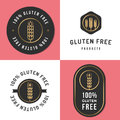 Set of logo, badges, banners, emblem for gluten free product. Package design. Minimal style.