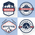 Set of logo, badges, banners, emblem for mountain, hiking, camping, expedition and outdoor adventure. Exploring nature. Royalty Free Stock Photo