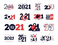 Set of logo 2021 Happy New Year signs. Big collection of 2021 Happy New Year symbols. Greeting card artwork, brochure template.