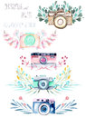 Set of logo mockups with watercolor cameras and floral elements