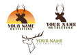 Set of logos with deer illustration three isolated on white a head easy to change words to your name Stock Image