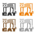 Set of logos of different colors. Decorative image of a striped cat, standing on the word & cats
