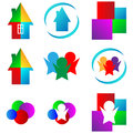 Set of logos mega collection different colored abstract for designers for various necessities Stock Image