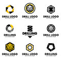 Set of logos for the tool, drill bit, drilling.Vector illustration Royalty Free Stock Photo