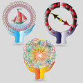 Set of logos the world in his hands illustration colorful round for decoration and design Stock Photos