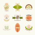 Set of logos for yoga studio or meditation class modern fitness badges collection made in vector logotype template Stock Photo