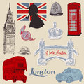 Set of London doodles Royalty Free Stock Image