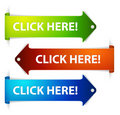 Set of  long horizontal colorful arrows Royalty Free Stock Image
