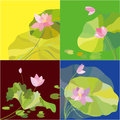 Set of lotus flower background card design Royalty Free Stock Photos