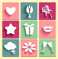 Set love chat favorites congratulation icons for web or for device management Royalty Free Stock Image