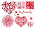 Set of Love heart with pattern, mandalas and seamless patterns f Royalty Free Stock Photo