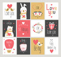 Set love and romantic cards. Valentine`s Day.