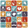 Set of love and romantic flat icons vector illust collection with long shadows illustration Stock Photos