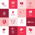 Set of love and romantic icons for valentines day mothers wedding events Royalty Free Stock Images