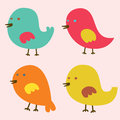 Set of lovely birds vector illustration Royalty Free Stock Photos
