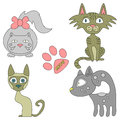 Set of lovely cats four Stock Image