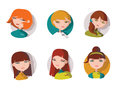 Set with 6 lovely girls heads, dressed like shop assistant, manager or helpful staff in bright clothes and with smile on face. Vec