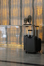 Set of Luggage in a Modern Hotel Lobby Royalty Free Stock Photo
