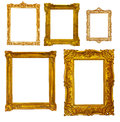 Set of luxury gilded frames isolated over white background may be used for photo Royalty Free Stock Images