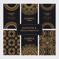 Set of luxury golden oriental decorative ornaments and patterns for identity, web and prints Royalty Free Stock Photo