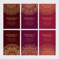 Set of luxury golden oriental ornaments on brown and red backgrounds for identity, web and decor Royalty Free Stock Photo