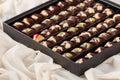 Set of Luxury handmade chocolate candies in gift box Royalty Free Stock Photo