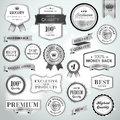 Set luxury silver labels ribbons sale products promotion Royalty Free Stock Images