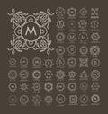 Set of luxury, simple and elegant blue monogram design templates
