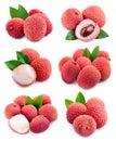 Set of lychees fruits . Royalty Free Stock Photo