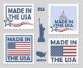Set of made in usa postage stamps Royalty Free Stock Photo