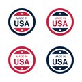 Made in USA United States of America sign, label and emblem Vector Illustration