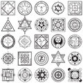 Set of Magic and Alchemy Sigils Vectors Royalty Free Stock Photo