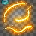 Set of magic glowing spark swirl trail effect on transparent background. Bokeh glitter wave line with flying
