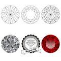 Set of magna cut jewel views Royalty Free Stock Photo