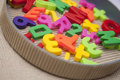 Set of magnetic letters and digits Stock Photography