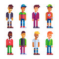 Set of male characters in flat design. Royalty Free Stock Photo