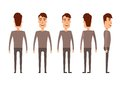 Set of Male characters. Man, boy, person, user. Modern vector illustration flat and cartoon style. Different positioning