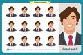 Set of male facial emotions. Young business man character with different expressions.Vector flat illustration in cartoon style.
