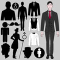 Set of male symbols various Royalty Free Stock Photo