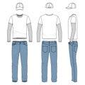 Set of male tee, jeans, baseball cap.