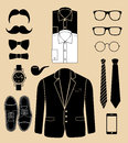 Set of man fashion elements vector illustration background Royalty Free Stock Photo