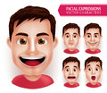 Set Man Head Emotions in 3D Realistic with Different Facial Expression Isolated